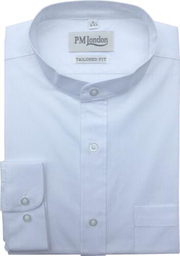 Homme à Manches Longues Coupe Ajustée Col Mandarin 100/% coton à rayures Dobby Shirt