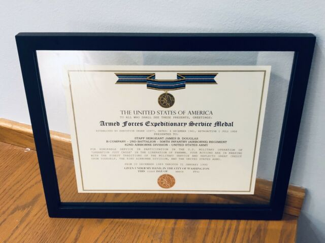 ARMED FORCES EXPEDITIONARY MEDAL / VETERAN COMMEMORATIVE CERTIFICATE