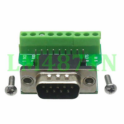 DB9 D-SUB VGA male plug 9pin port Terminal Breakout PCB RS232 row without nut
