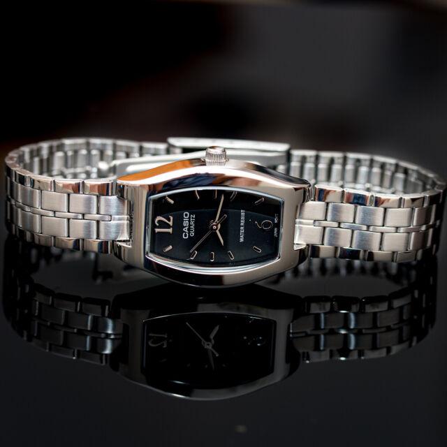Casio LTP-1254D-1A Ladies Black Square Watch Stainless Steel Dress Quartz New