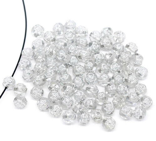 Fast Free Same Day Shipping Beautiful 100 Silver Accent Beads Rose Flower 8mm