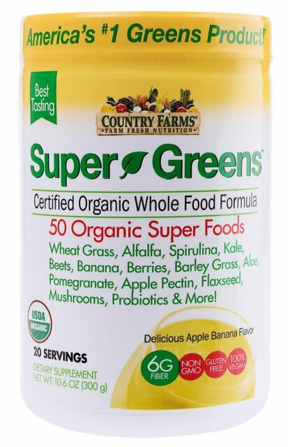 Country Farms Super Greens Banana Flavor, 50 Organic Super Foods, USDA Organic..
