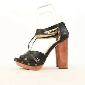 2517f6dd255 Details about Seychelles Heels 7 Black Leather T-Strap Sandals Chunky  Wooden Heel Platform