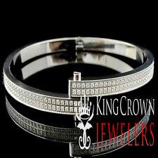 Simulated Diamond Solid Steel Cuff Style White Gold Finish Bangle Bracelet 5MM