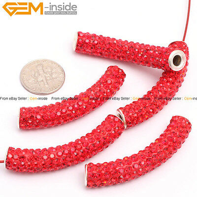 Pretty Curved Tube CZ Crystal Rhinestones Pave Clay Disco beads 5pcs 34 Color