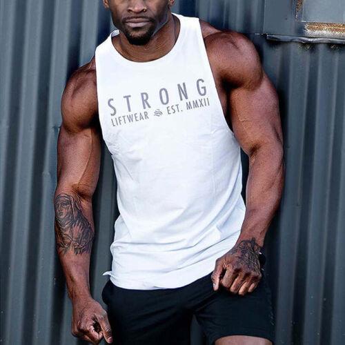 Men Gym Muscle Shirt Tank Sleeveless Tee Tops Bodybuilding Sport Fitness Vest UK