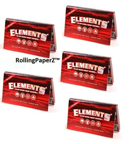 5X Packs Elements Red Slow Burn Hemp Single Wide Rolling Papers 100 Per Pack