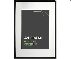 A1 Black Picture Frame + Mat Board - Fits A1 or A2 Print - Poster ...