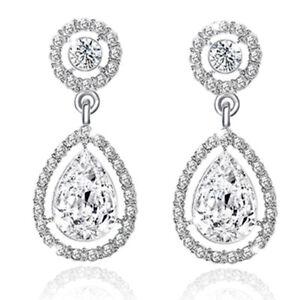 Image Is Loading Crystal Silver Earring Drop Down Bling Earrings