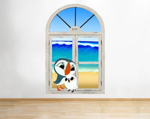 M142 MACAREUX Rock oiseaux plage bébé fenêtre Applique Murale 3D Art Stickers Vinyl Chambre