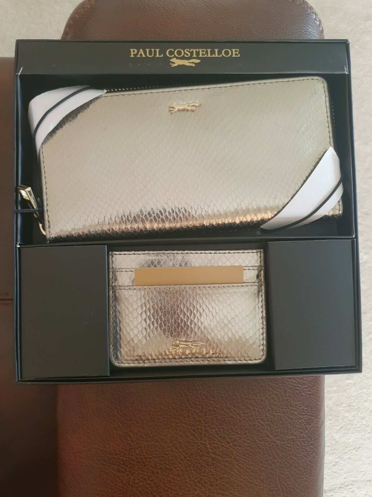 New Leather Purse & Cardholder RRP set by Paul Costelloe, Silver Gunmetal