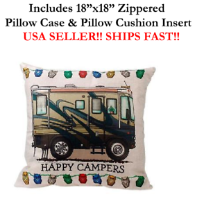18 Happy Campers Rv Recreational Vehicle Trailer Home Pillow Case Cushion Ebay