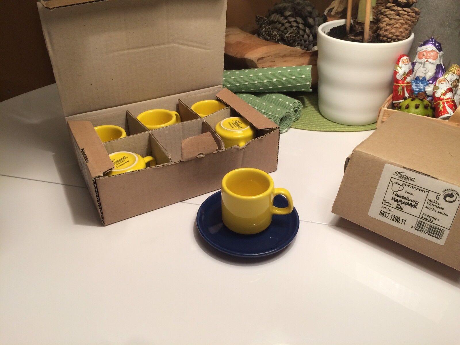 FRIESLAND Happy Mix Espresso Set Mokka Kaffee ☕️ Gelb Blau  - NEU OVP | Kostengünstig