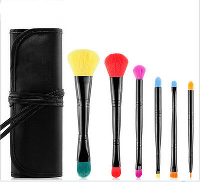 7-Piece Set: Rainbow Color Double-End Makeup Brushes