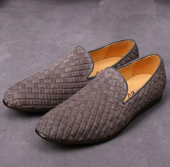 New Suede Pelle Weave Woven Slip On Loafers Uomo Driving Scarpe Moccasin-gommino