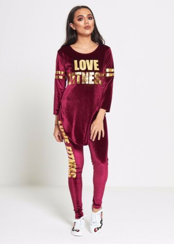 Justyouroutfit Femme TS2297 velours Love Fitness Survêtement