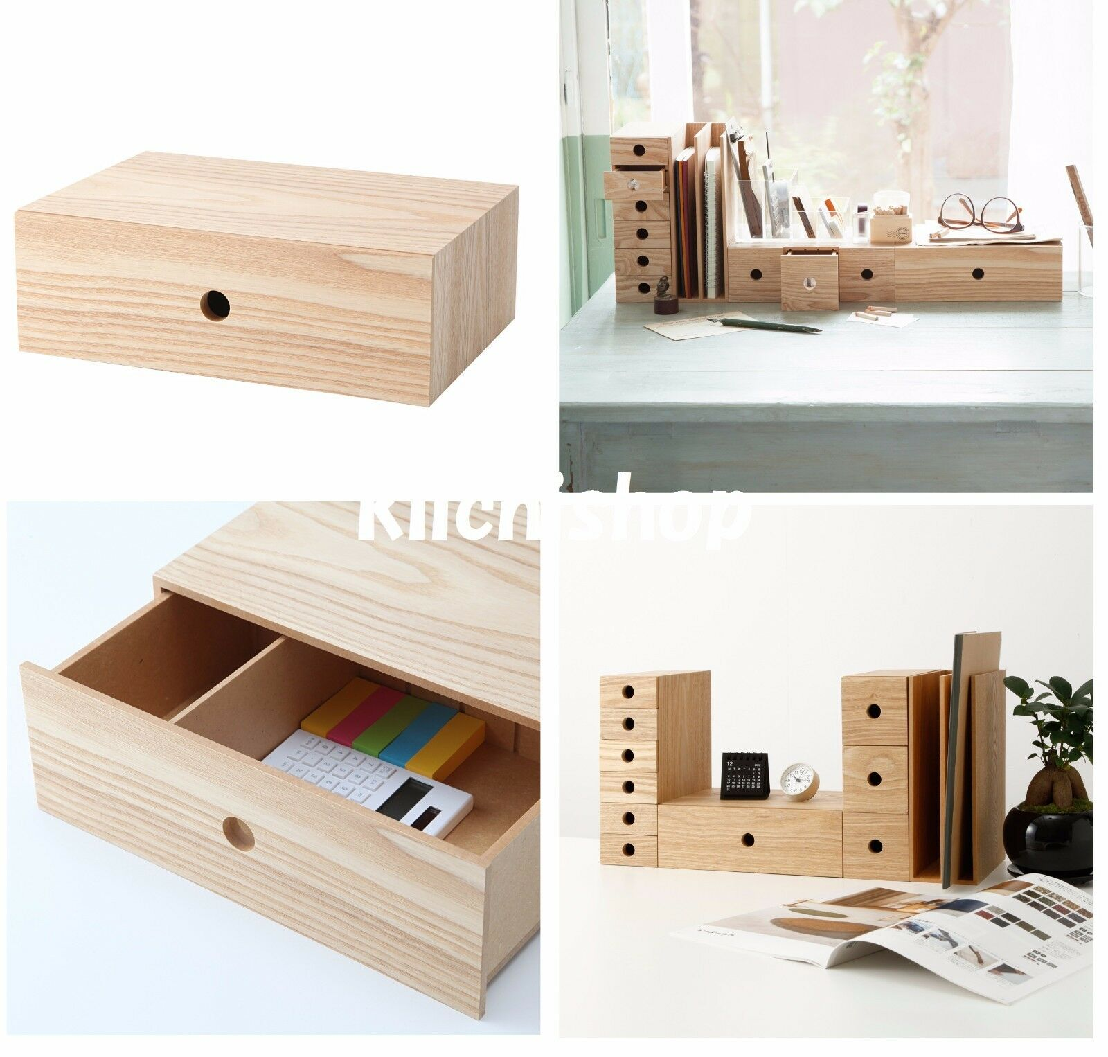 Muji MDF ash wood 1 drawer organize storage box for Accessory small article