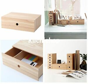 Image is loading Muji-MDF-ash-wood-1-drawer-organize-storage- & Muji MDF ash wood 1 drawer organize storage box for Accessory small ...