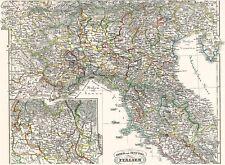 163 Jahre alte Landkarte ITALIEN Turin Mailand Verona Aquileia Grado Görz 1854