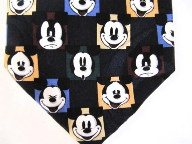 Mickey Mouse Many Faces Of Neck Tie Silk Disney Mickey Inc Black Background