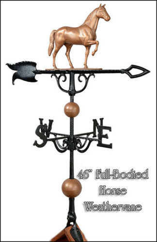 """Whitehall 46/"""" Weathervane Full-Bodied Horse Copper Color Includes Rooftop Mount"""