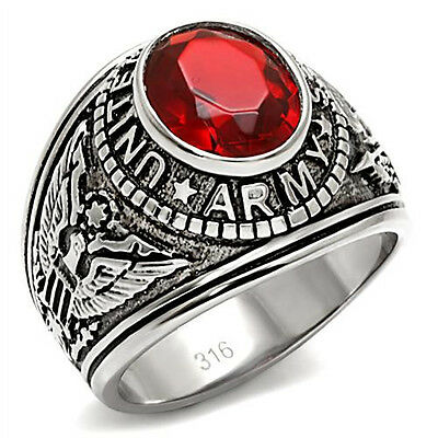 US Army Ring Military Simulated Red Stone Stainless Steel Hypoallergenic