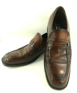 Freeman-Free-Flex-Brown-Leather-Slip-On-Loafers-Gold-Buckle-Mens-Size-10-D-Shoes