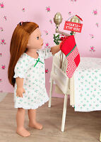 Pretty Little Nightdress With Holly Sprig Design For American Girl Doll