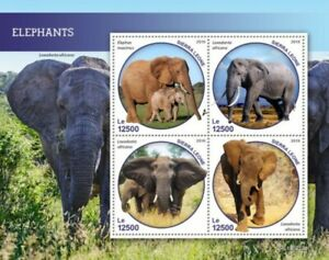 Sierra-Leone-2019-elephants-4-Timbre-Feuille-SRL190213a