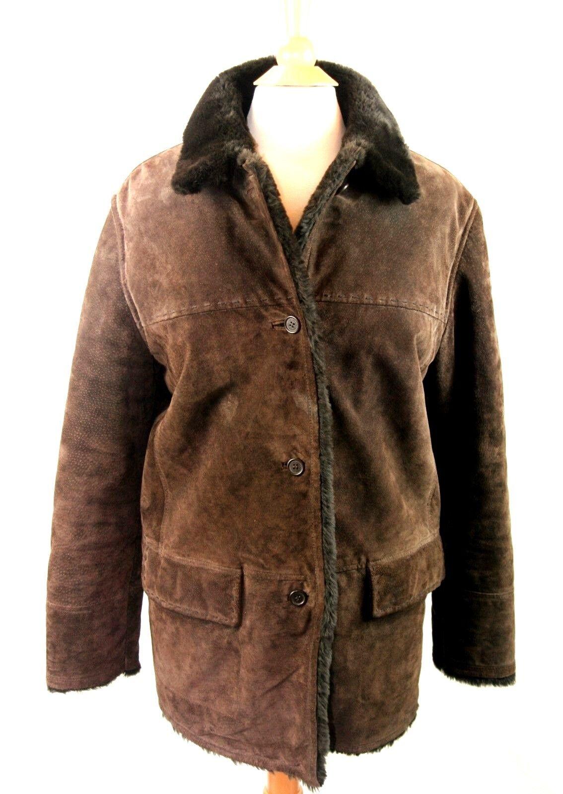 Jones New York Sport Size Medium Chocolate Brown Leather Coat Faux Fur Lining