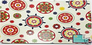Vinyl-Placemats-Set-of-4-Fresh-Red-Floral-Tile-Medallions-13x18-inch-New