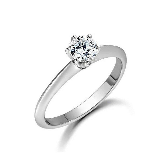 0.50 Ct Real Solitaire Diamond Rings 14K Solid White gold Women's Size 7.5 6 5.5