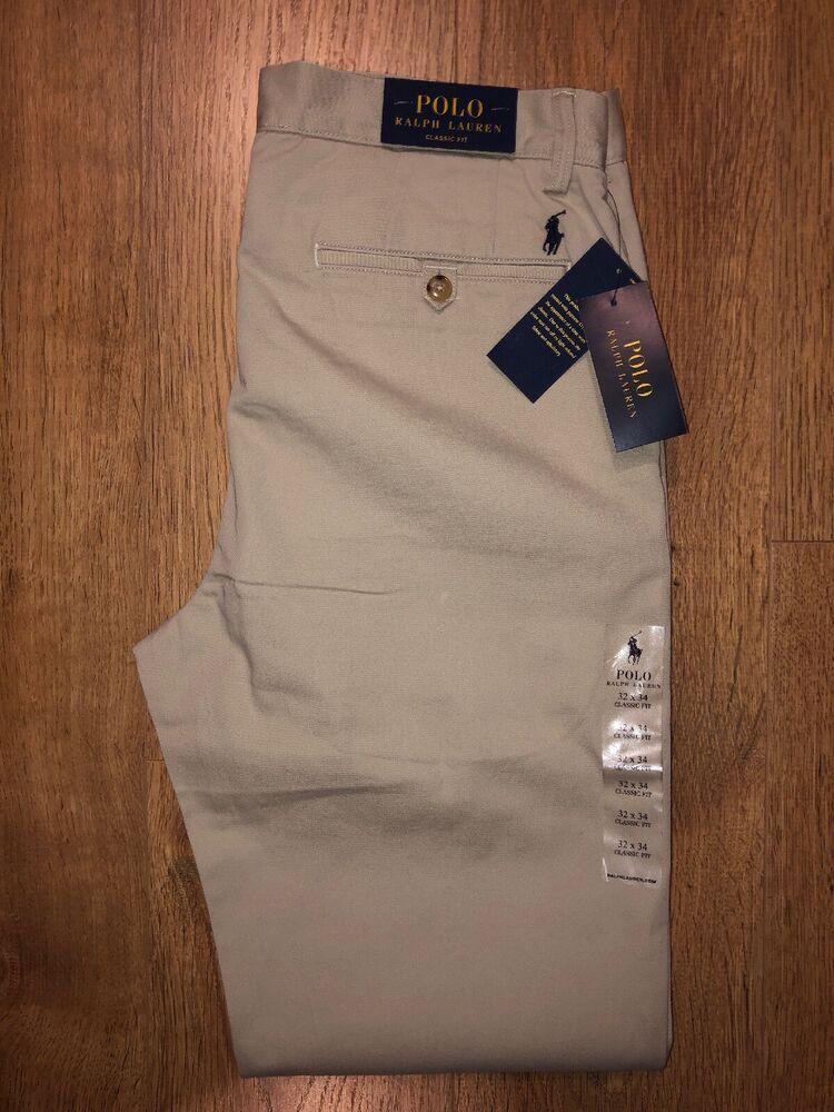 Adroit Polo Ralph Lauren Homme Classic Fit Bedford Chino Beige W32 L34 Bnwt £ 110 Un Style Actuel