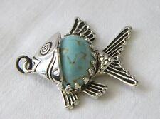 Vtg Danecraft Sterling Silver ANGEL FISH Venetian Art Glass Turquoise Pendant