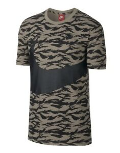 7517f8e7875f Nike AOP All Over Printed Swoosh Khaki   Black T Shirt Sz Large NEW ...