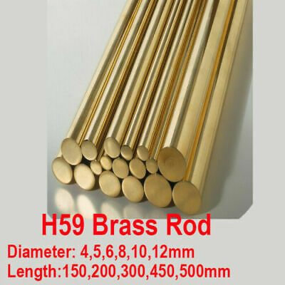 Dia 4-12mm H59 Brass Round Rod Bar Solid Metal tool Model making 150-500mm long