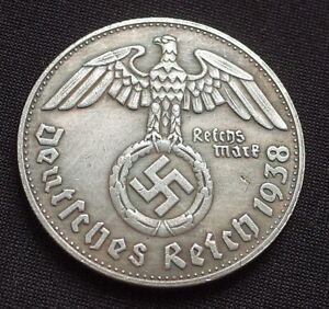 WW2-GERMAN-COMMEMORATIVE-COIN-1-REICHSMARK-1938-ADOLF-HITLER-EXONUMIA