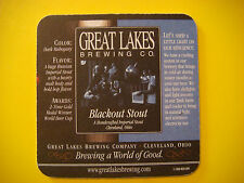 Bar COASTER ~*~ GREAT LAKES Brewing Co Blackout Imperial Stout ~ Cleveland, OHIO