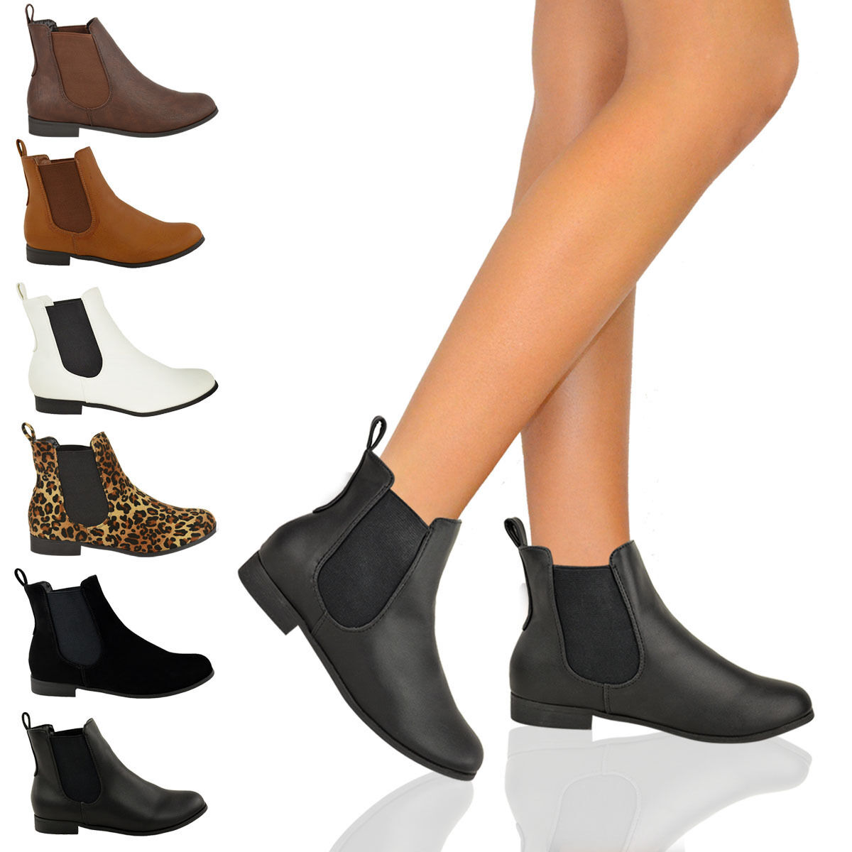 LADIES WOMENS FLAT CHELSEA ANKLE WORK BOOTS CASUAL ELASTIC PULL ON SHOES SIZE