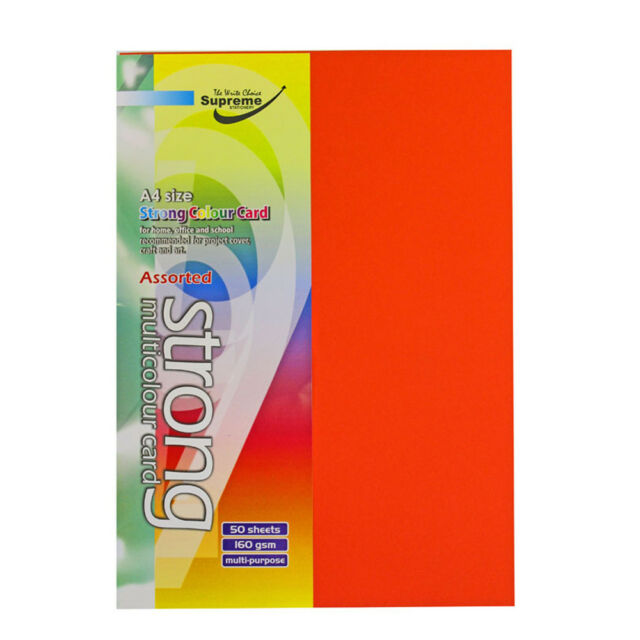 50 Sheets A4 Multi-Coloured Card 160 Gram Paper For Home School Office Craft Art