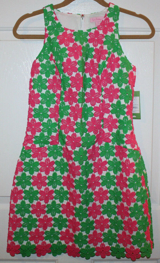 New Womens  LILLY PULITZER Pink & Green Dress Two Tone Truly Petal Lace  0