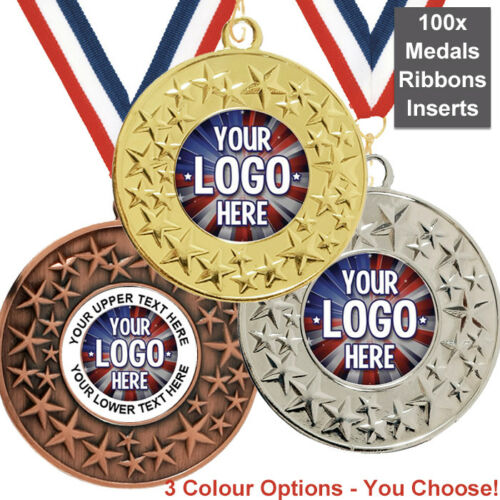 INSERTS or OWN LOGO /& TEXT RIBBONS CLAY PIGEON SHOOTING MEDALS 50mm PACK OF 10