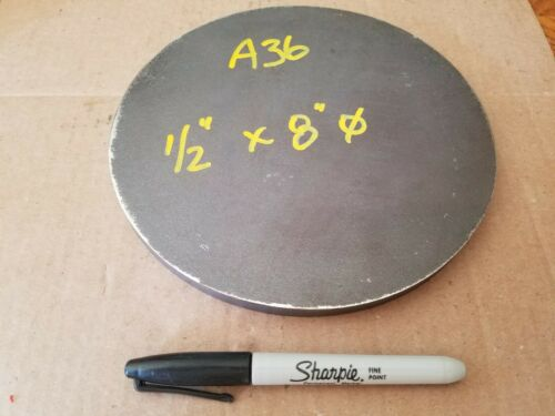 """Lathe Stock 8/"""" diameter x 1//2/"""" thick A36 Details about  / Steel Plate Round Disc"""