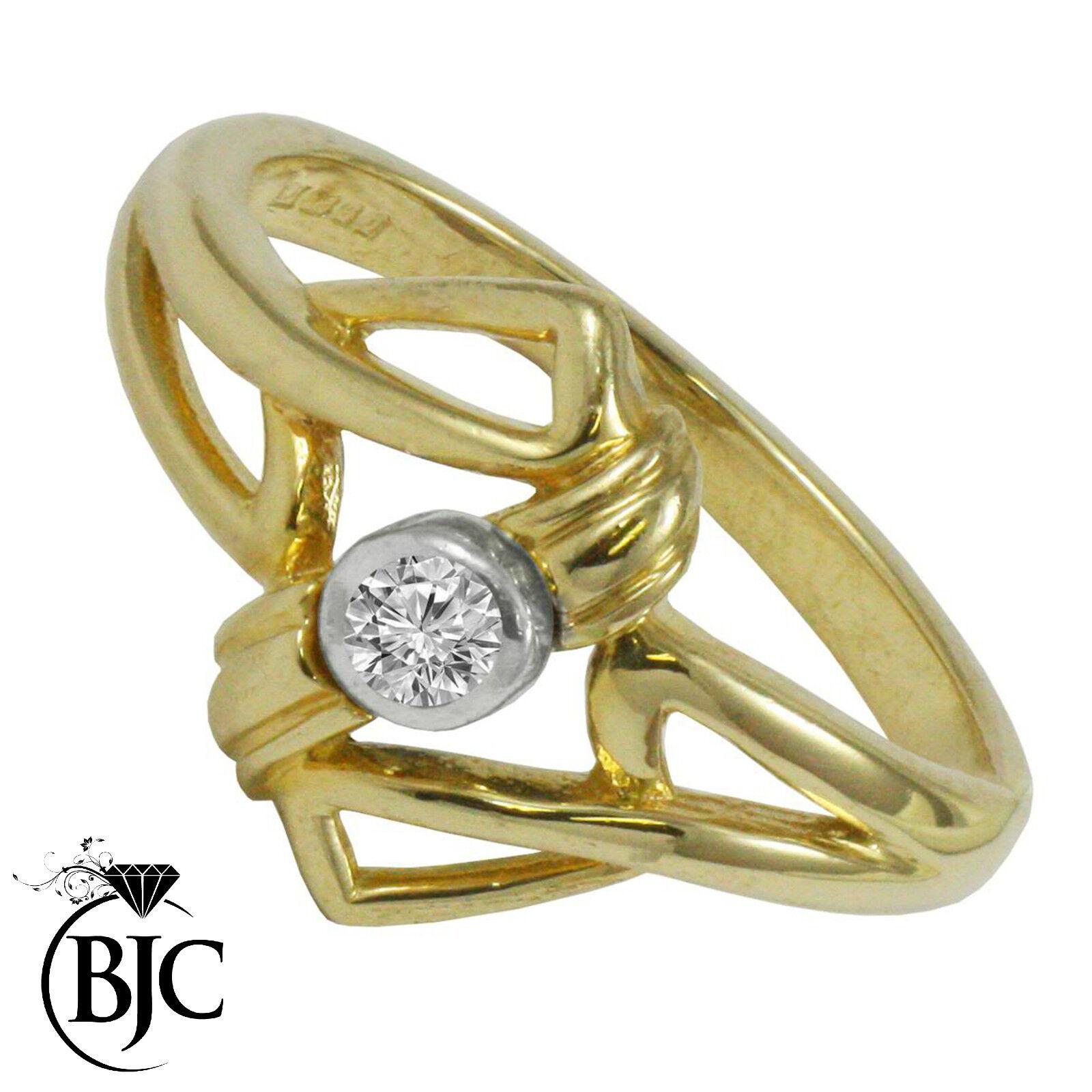 Bjc 9 Ct or yellow Diamant 0.10ct Ct Solitaire size P Fiançailles