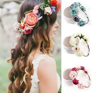 8f071536c5614a Das Bild wird geladen Haarband-Blumen-Stirnband-Kranz-Bluete-Geflochten- Haarreif-Haarkette-
