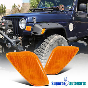 1997-2006-Jeep-Wrangler-Clear-Side-Marker-Lights-Signal-Lamps-Amber-Lens