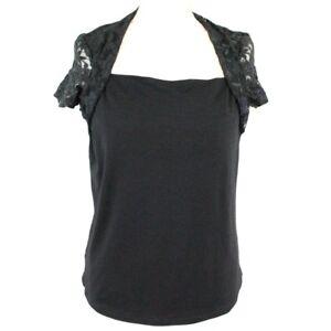 classcic en ligne ici plus près de Details about DAMART Lace Bolero Style Short Sleeve Top UK 14 Black Cowl  Neck Formal Party