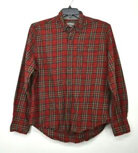 Eddie-Bauer-Mens-Red-Flannel-Plaid-Button-Down-Long-Sleeve-Casual-Cotton-Shirt-L