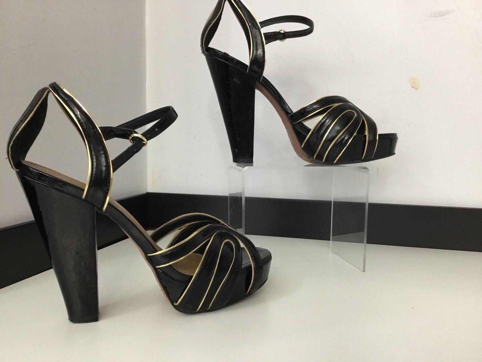Kurt Geiger kg Zapatos Tacón Alto Charol Negro Talla en muy buena condición