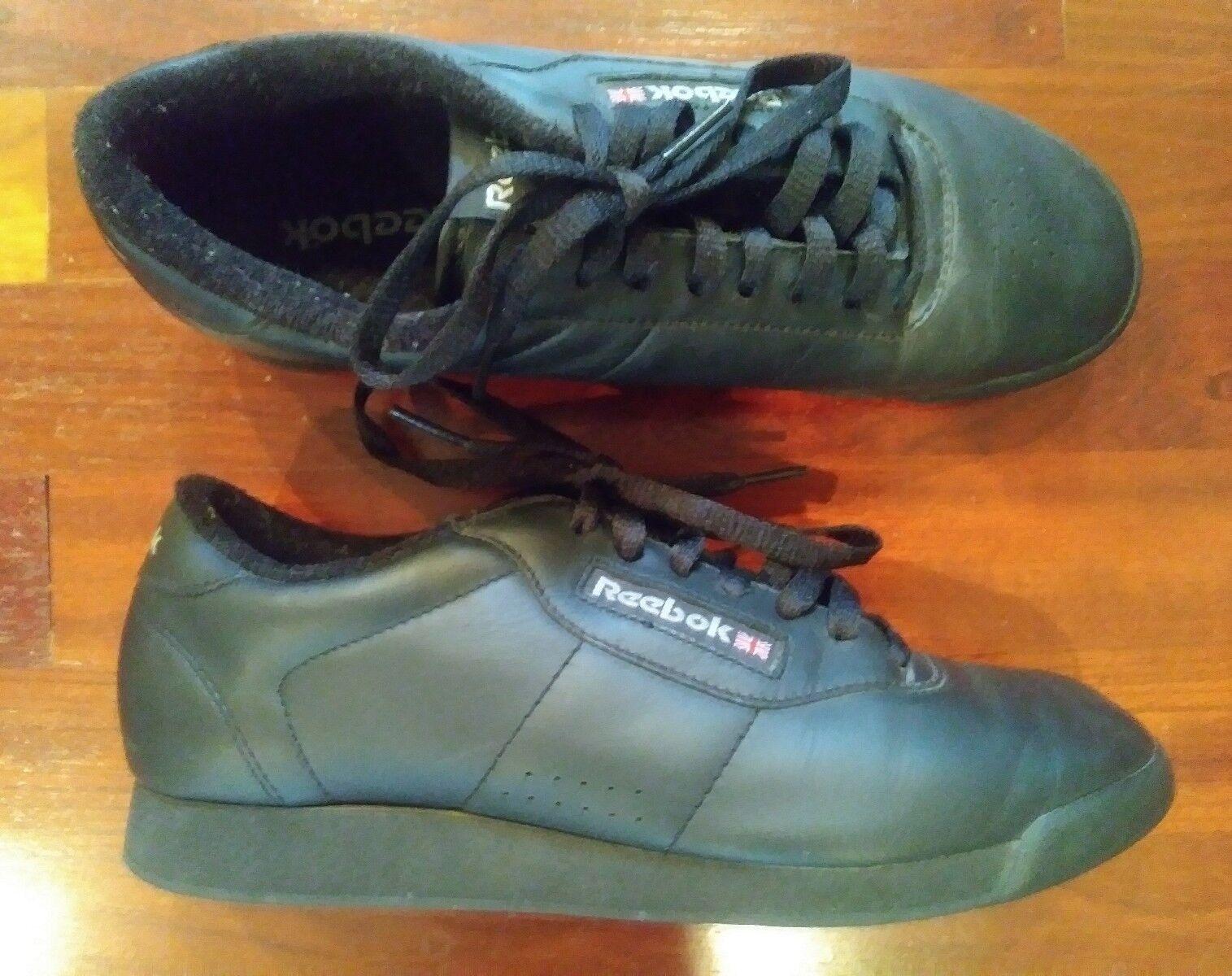 REEBOK Classic Women's Athletic PRINCESS Black Leather Tennis Shoes 8.5M